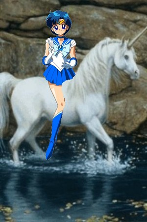 Sailor Mercury riding on an Beautiful Unicorn