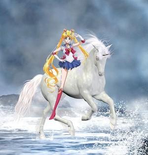 Sailor Moon rides on a Beautiful Unicorn