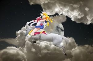 Sailor Moon riding her Beautiful Pegasus