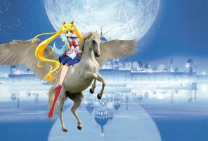 Sailor Moon riding her Beautiful Winged Unicorn