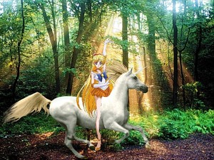 Sailor Venus riding her Beautiful Unicorn
