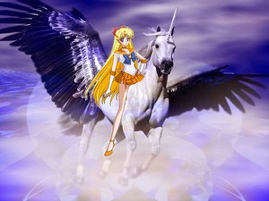 Sailor Venus riding on her Beautiful Winged Unicorn steed
