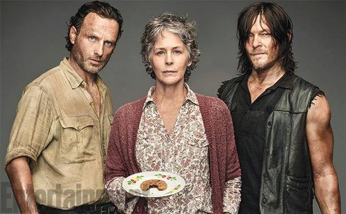 The Walking dead wallpaper entitled Season 6 EW Cover ~ Rick, Carol and Daryl