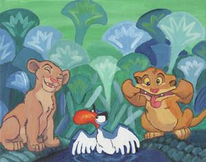 Simba, Nala, and Zazu