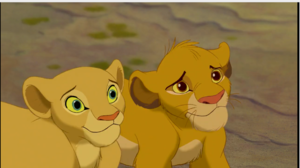 Simba and Nala making a anak anjing, anjing face
