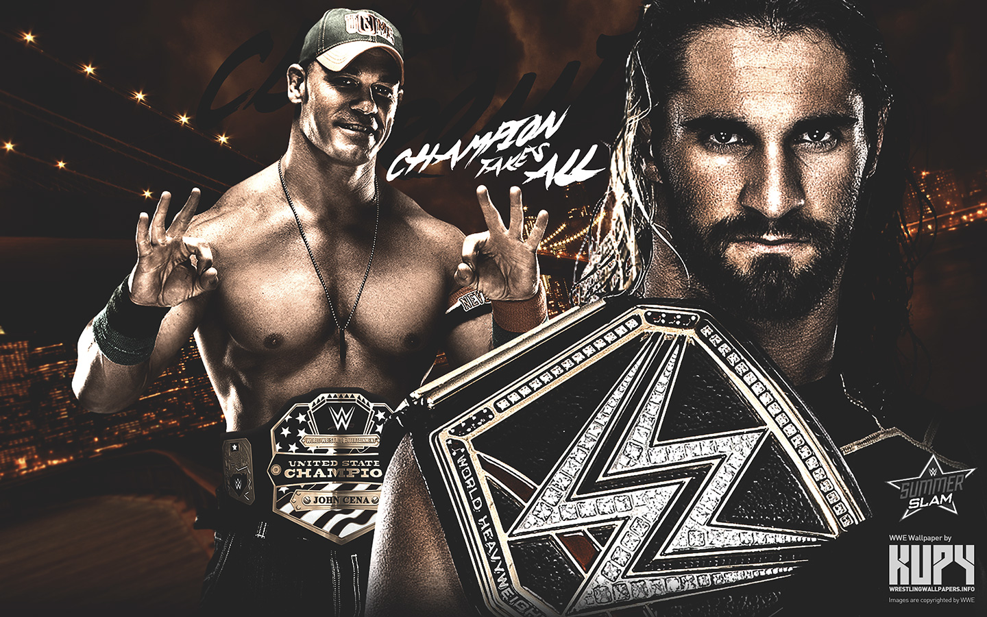 wwe images summerslam 2015 - john cena vs seth rollins hd wallpaper