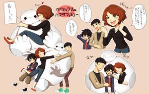 Tadashi, Hiro, Aunt Cass and Baymax