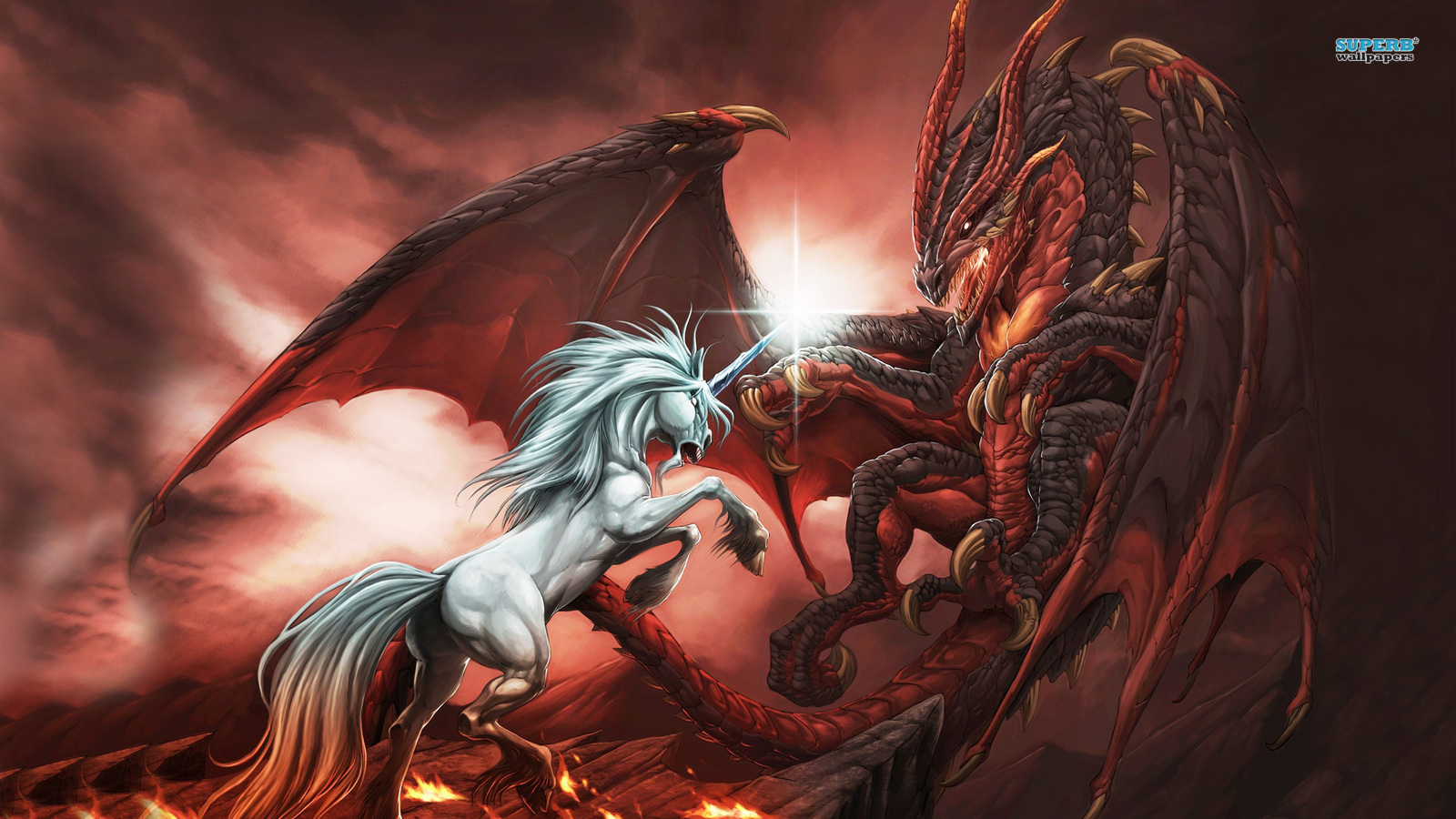 Dragons images Unicorn vs Dragon HD wallpaper and background photos