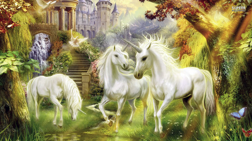 Fantasy wallpaper with a lippizan called Unicorns
