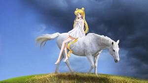 Usagi Tsukino riding her Beautiful White Horse