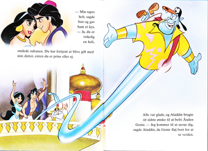 Walt Дисней Book Обои - Princess Jasmine, Prince Aladdin, Abu, The Sultan & Genie