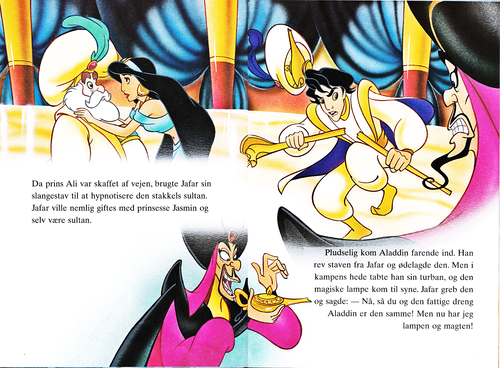 Walt Disney Characters karatasi la kupamba ukuta possibly containing anime titled Walt Disney Book picha - The Sultan, Princess Jasmine, Prince Aladin & Jafar