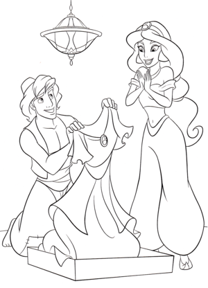 Walt Дисней Coloring Pages - Prince Аладдин & Princess жасмин