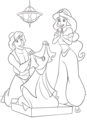 Walt Disney Coloring Pages - Prince Aladin & Princess jimmy, hunitumia