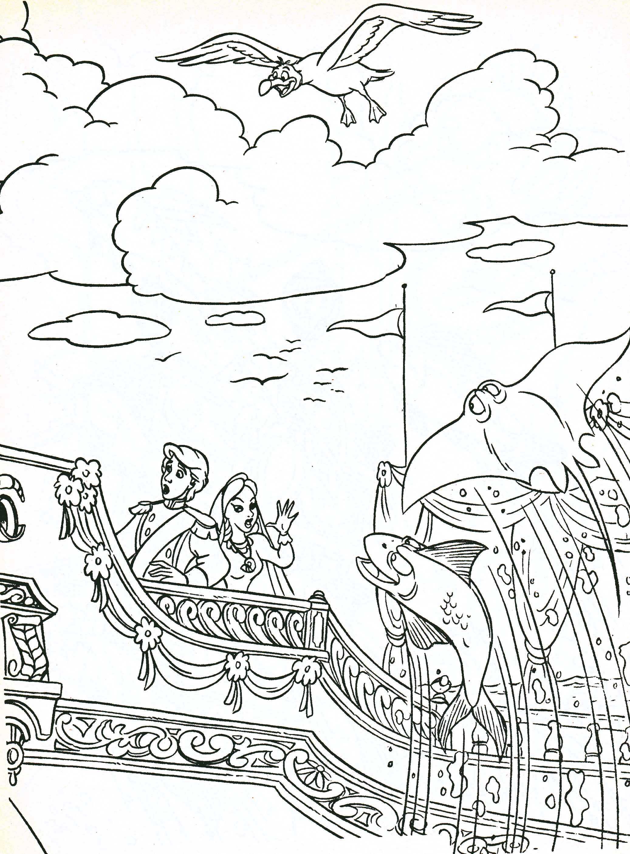 The little mermaid scuttle coloring pages for Prince eric coloring pages