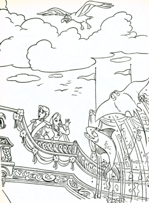 Walt Disney Coloring Pages - Scuttle, Prince Eric & Vanessa