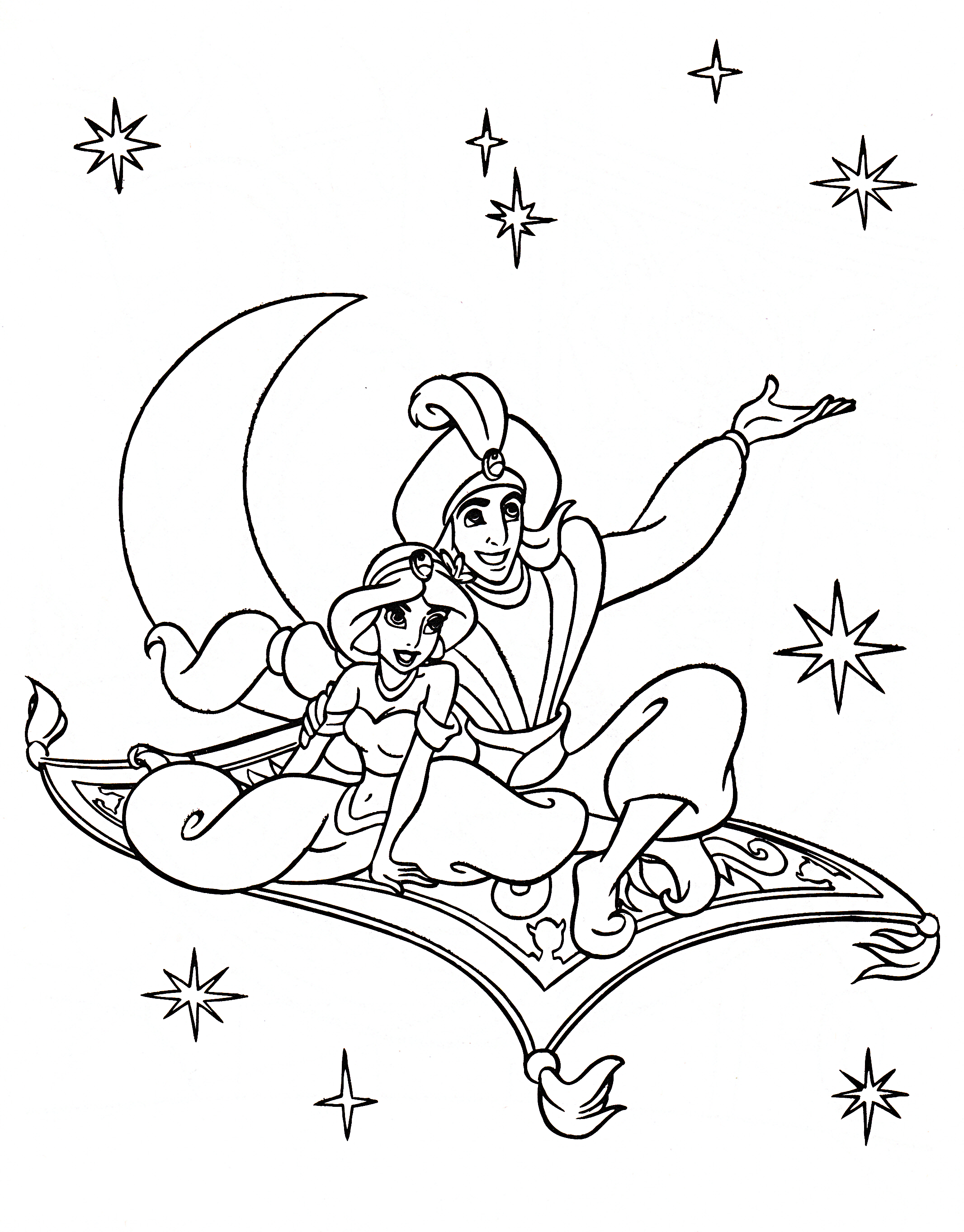Walt Disney Coloring Pages - Princess Jasmine, Prince ...