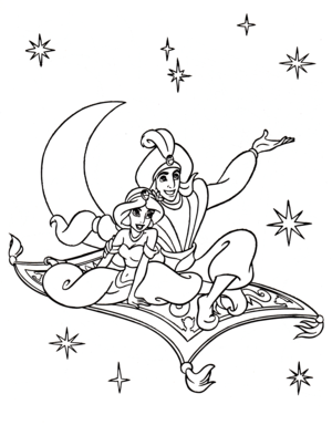 Walt 迪士尼 Coloring Pages - Princess Jasmine, Prince 阿拉丁 & Carpet