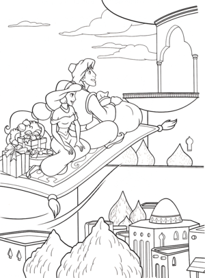 Walt Disney Coloring Pages - Princess Jasmine, Prince Aladdin & Carpet