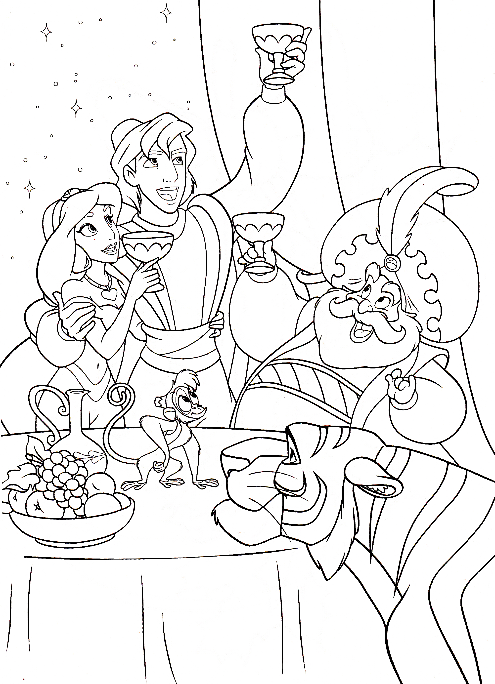 Aladdin Coloring Page - abu | All Kids Network | 2753x1991
