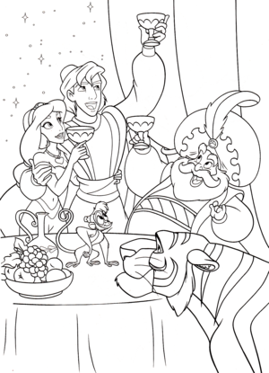 Walt Disney Coloring Pages - Princess Jasmine, Prince Aladdin, The Sultan, Abu & Rajah