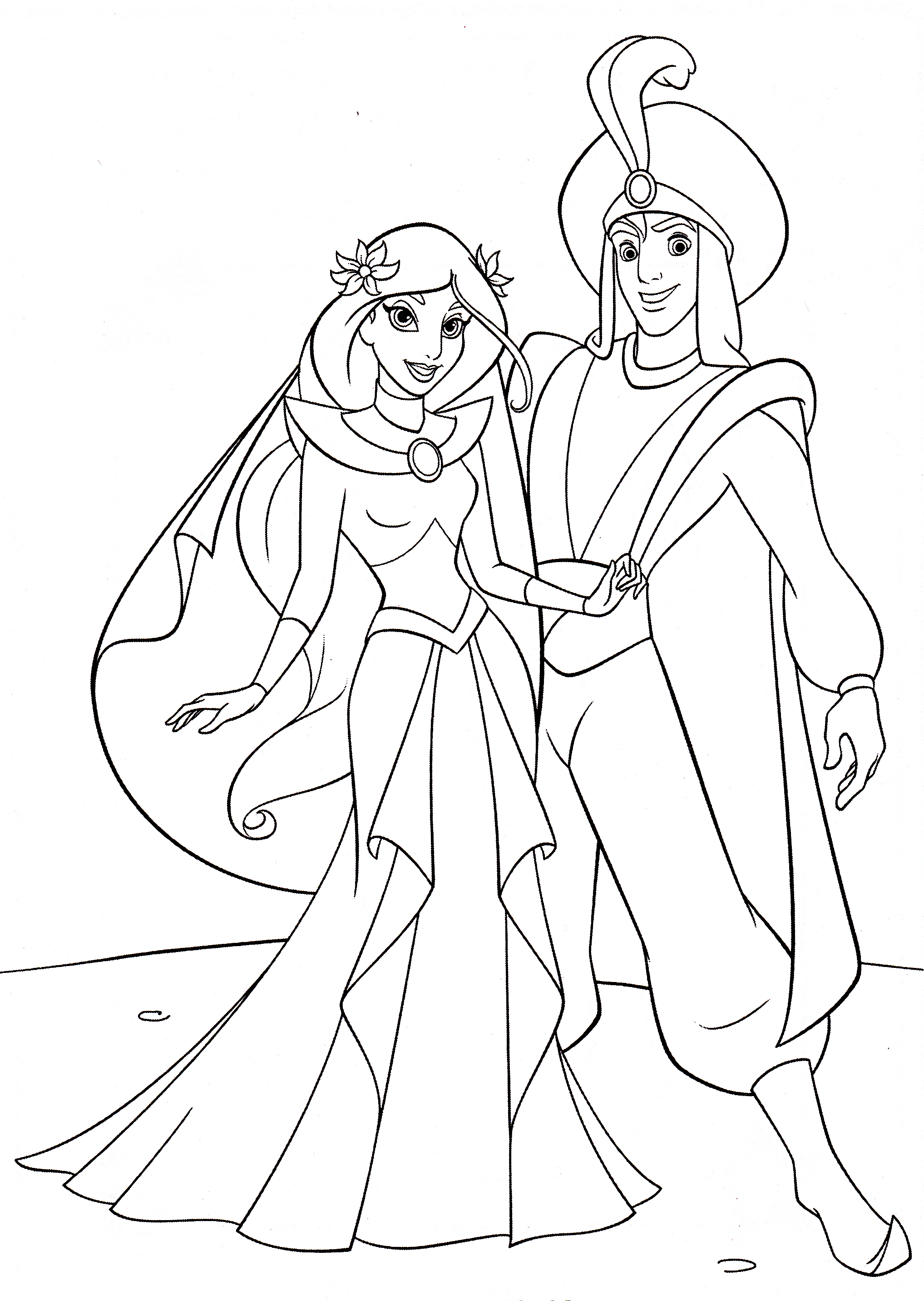 Walt Disney Coloring Pages Princess Jasmine Prince Aladdin Princess And Prince Coloring Pages