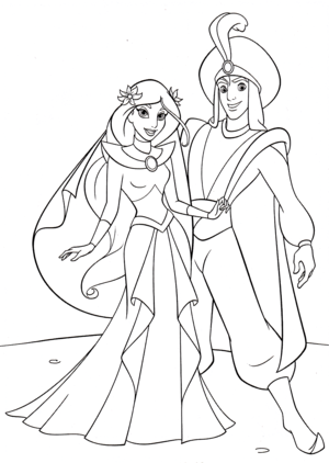 Walt ডিজনি Coloring Pages - Princess জুঁই & Prince আলাদীন