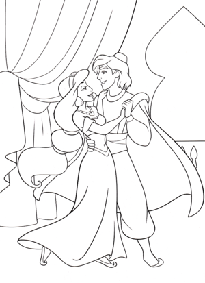 Walt Disney Coloring Pages - Princess melati, jasmine & Prince Aladdin