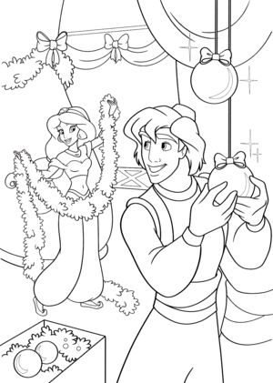 Walt Disney Coloring Pages - Princess جیسمین, یاسمین & Prince Aladdin