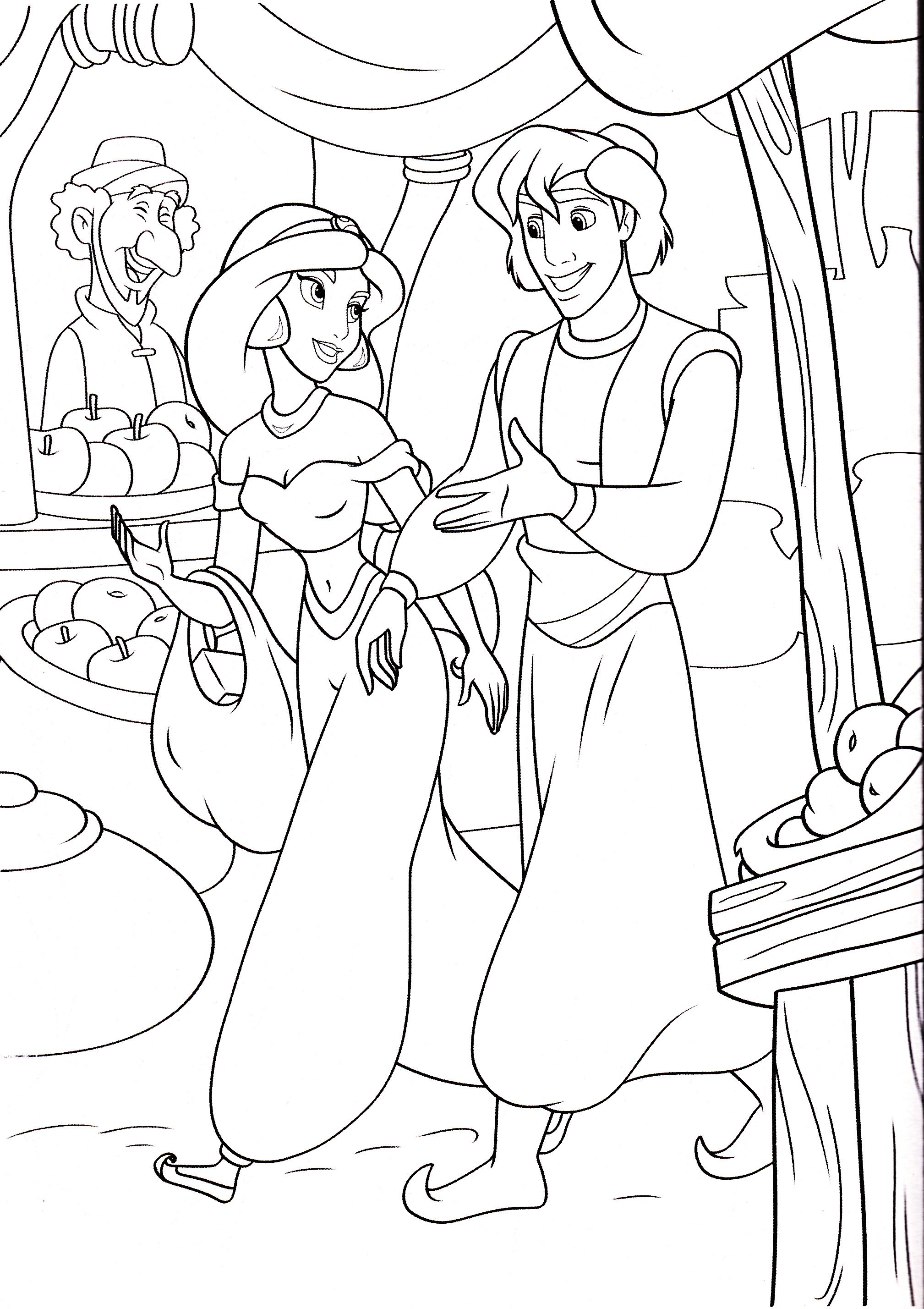 Walt Disney Coloring Pages - Princess Jasmine & Prince Aladdin