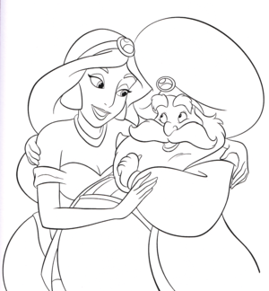 Walt disney Coloring Pages - Princess jasmim & The Sultan