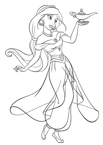 walt disney characters wallpaper called walt disney coloring pages princess jasmine - Disney Coloring Page