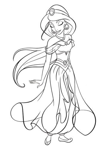 Walt Disney Characters wallpaper entitled Walt Disney Coloring Pages  - Princess Jasmine
