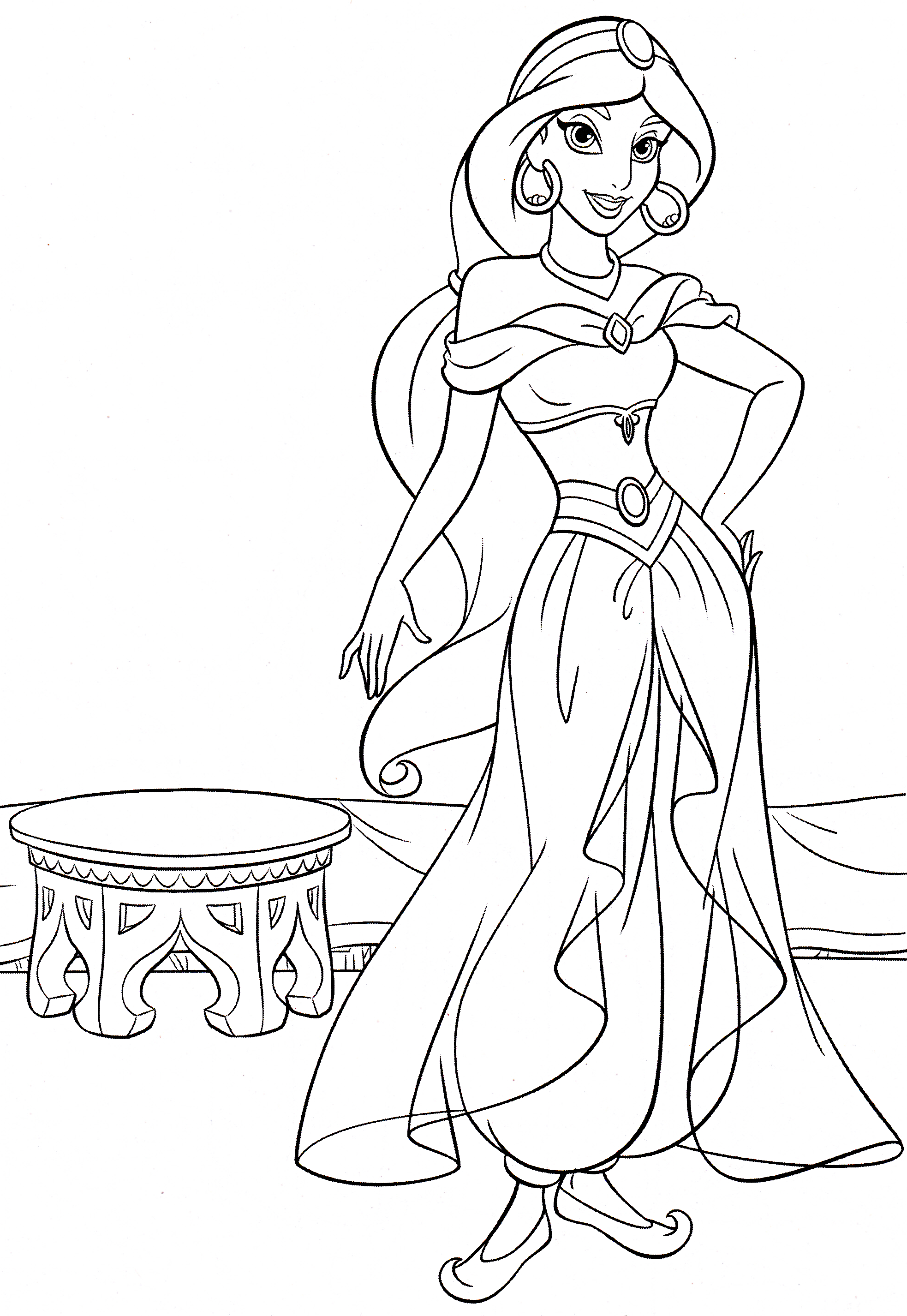 Walt Disney Coloring Pages - Princess Jasmine - Walt ...