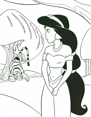 Walt Disney Coloring Pages - Rajah & Princess Jasmine