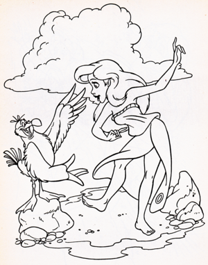 Walt disney Coloring Pages - Scuttle & Princess Ariel