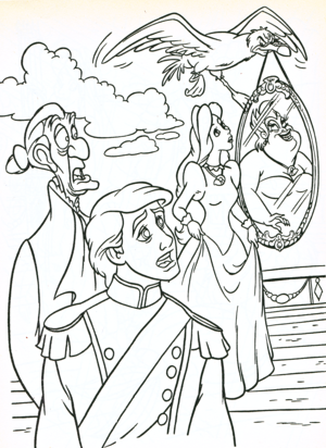 Walt Disney Coloring Pages - Sir Grimsby, Prince Eric, Scuttle, Vanessa & Ursula
