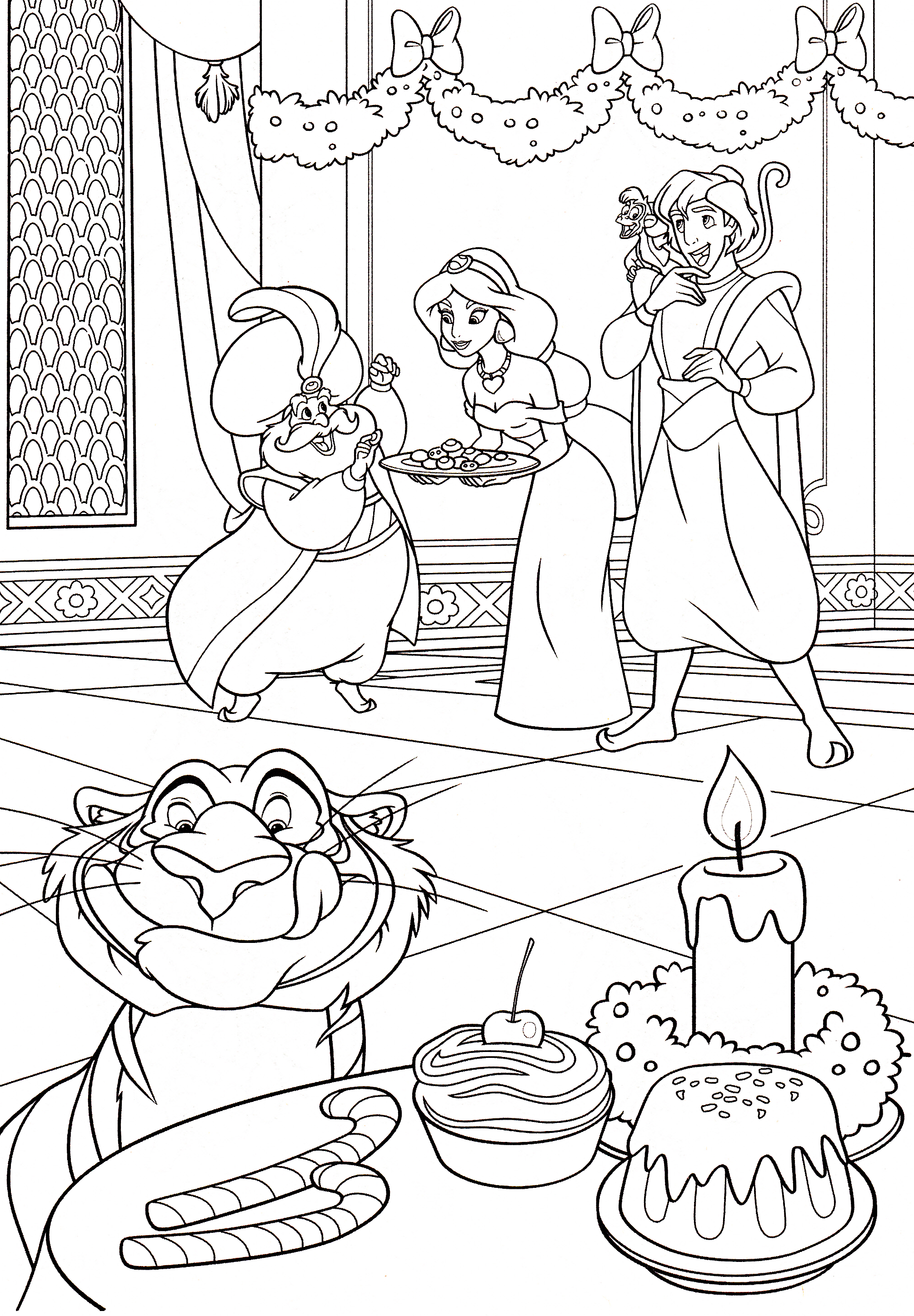 Walt disney Coloring Pages - The Sultan, Princess Jasmine, Prince Aladdin, Abu & Rajah
