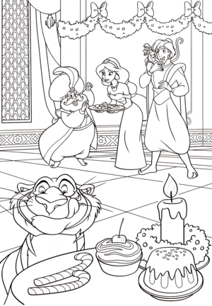 Walt ディズニー Coloring Pages - The Sultan, Princess Jasmine, Prince Aladdin, Abu & Rajah