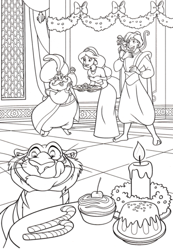 Walt Disney Characters karatasi la kupamba ukuta probably containing anime called Walt Disney Coloring Pages - The Sultan, Princess Jasmine, Prince Aladdin, Abu & Rajah