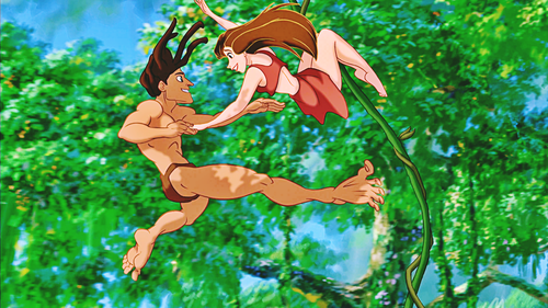 Walt Disney Characters wallpaper probably with a michigan lily, a bouquet, and a japanese apricot titled Walt Disney Screencaps - Tarzan & Jane Porter