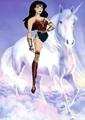 Wonder Woman rides on her beautiful unicorn - wonder-woman fan art
