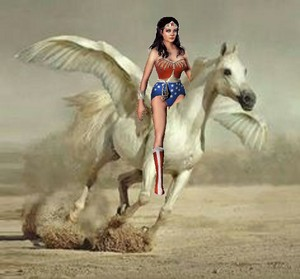 Wonder Woman rides on her beautiful white pegasus