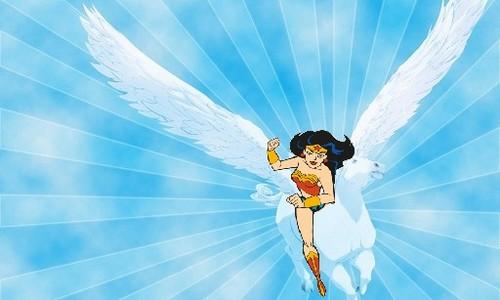 वंडर वुमन वॉलपेपर entitled Wonder Woman rides on her trusty pegasus