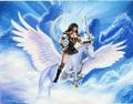 Xena rides on an white pegasus - xena-warrior-princess fan art