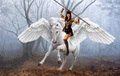 Xena riding an beautiful pegasus - xena-warrior-princess fan art