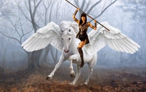 Xena riding an beautiful pegasus