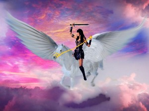Xena riding her noble pegasus घोड़ा