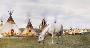 a native american woman living in her village with her beautiful white horse