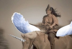 birago warrior riding an winged unicorn